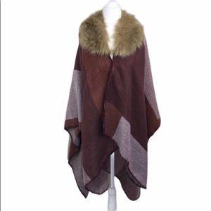 Marcus Adler Faux Fur Collar ColorBlock Shawl Cape